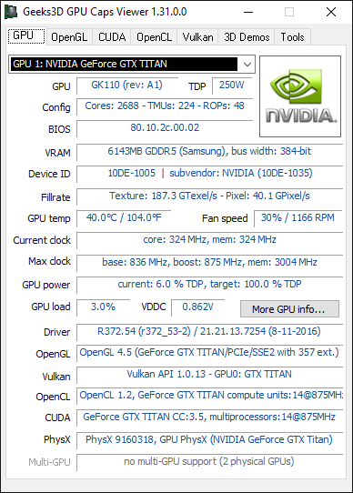 GPU Caps Viewer 1.31 + GeForce GTX TITAN (Kepler)