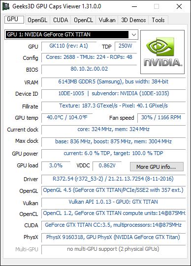 GPU Caps Viewer 1.31 + GeForce GTX TITAN (Kepler)