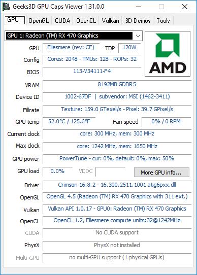 GPU Caps Viewer 1.31 + Radeon RX 470