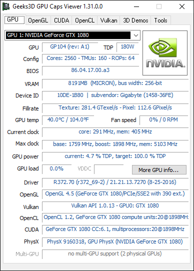 GPU Caps Viewer - R372.70 + GTX 1080