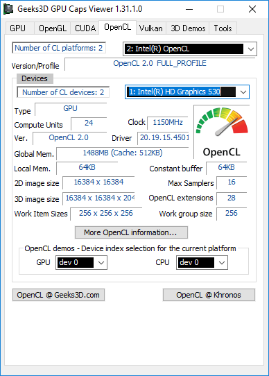 Intel v4501 - HD Graphics 530 - GPU Caps Viewer - OpenCL panel