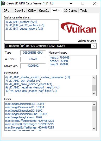 AMD Crimson, GPU Caps Viewer, Vulkan API information
