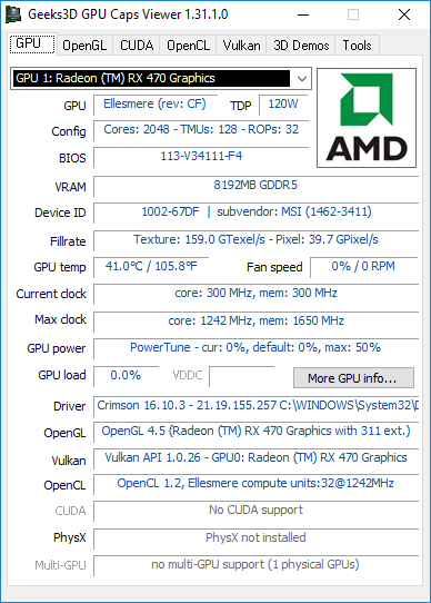 AMD Crimson, GPU Caps Viewer information