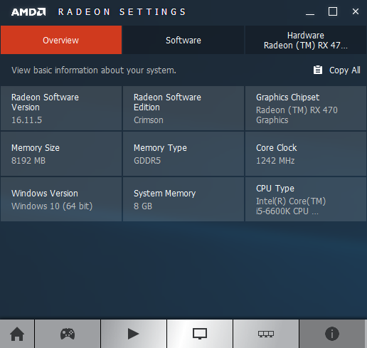 AMD Crimson software information