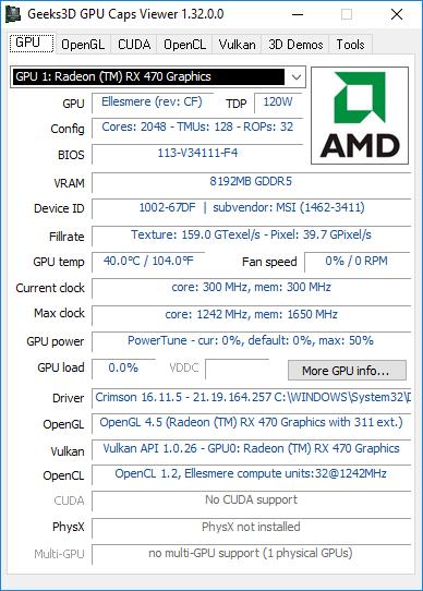 AMD Crimson, GPU Caps Viewer information, Radeon RX 470