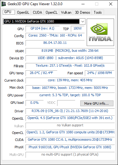 ASUS GeForce GTX 1080 TURBO + GPU Caps Viewer