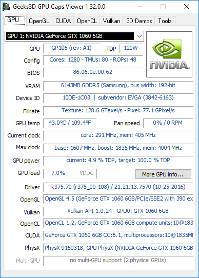 GPU Caps Viewer 1.32 + GeForce GTX 1060 6GB