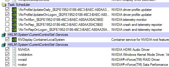 Microsoft Autoruns, NVIDIA telemetry functions disabled