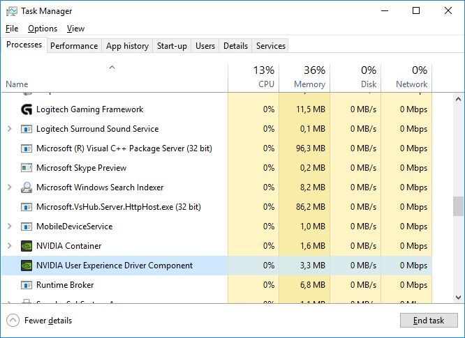 NVIDIA user experience driver component in Windows processes