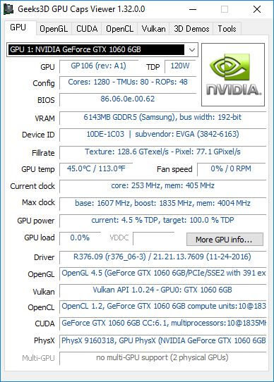 GPU Caps Viewer + GTX 1060 + R376.09