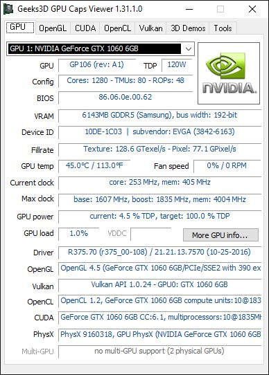 GPU Caps Viewer + GTX 1060 + R375.70