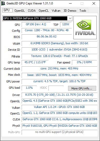 GPU Caps Viewer + GTX 1060 + R375.70