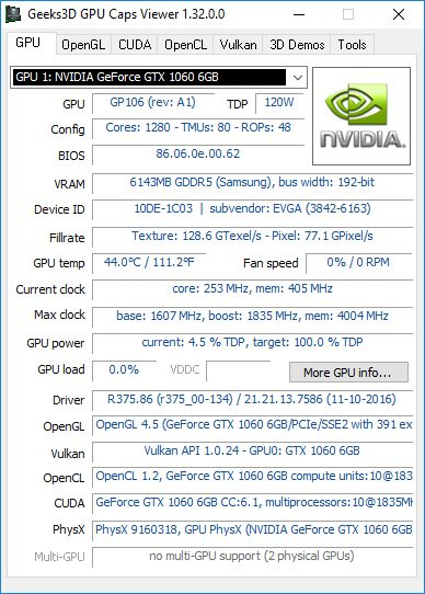 GPU Caps Viewer + GTX 1060 + R375.86