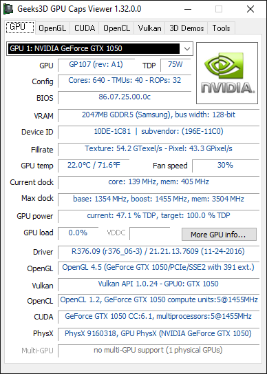 PNY GeForce GTX 1050 - GPU Caps Viewer