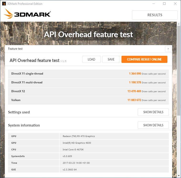 3DMark - Vulkan API Overhead test with a Radeon RX 470