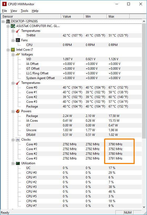 CPUID HWMonitor - Turbo boost enabled