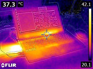 ASUS ROG Strix GL553VD Gaming Notebook - thermal imaging under load