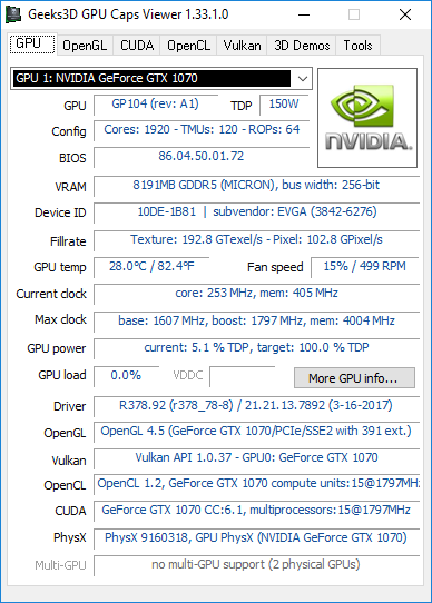 NVIDIA R378.92 + GTX 1070 + GPU Caps Viewer