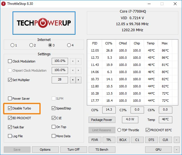 Intel Core i7 7700HQ - ThrottleStop