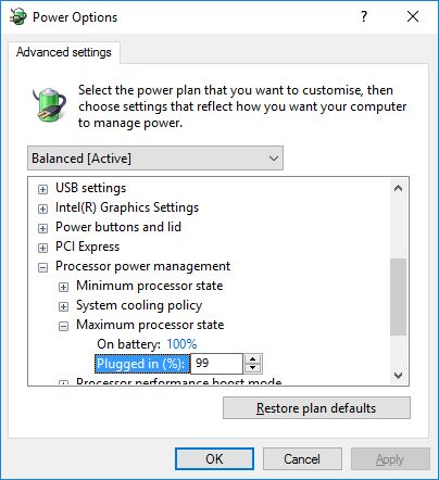 Windows 10 - Advanced Power Management Settings