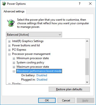 Windows 10 - Advanced Power Management Settings - Processor performance boost mode