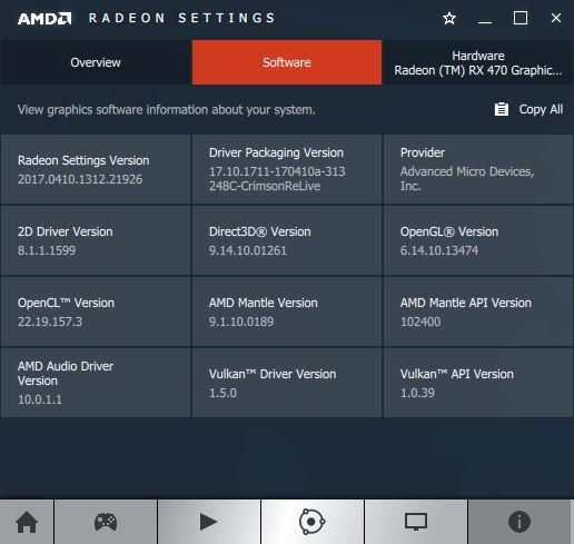 AMD Crimson software information