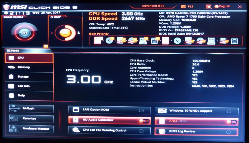 MSI X370 Gaming Pro Carbon Motherboard - BIOS