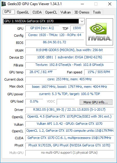 NVIDIA R382.05 + GTX 1070 + GPU Caps Viewer