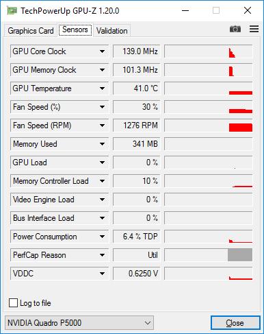 PNY Quadro P5000 - GPU-Z hardware sensors