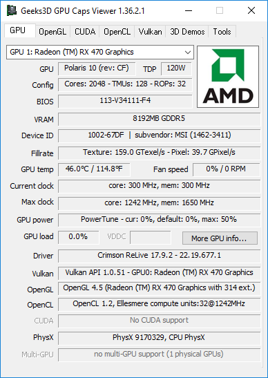 GPU Caps Viewer + AMD Crimson 17.9.2 + Radeon RX 470