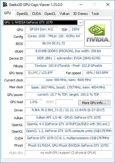GPU Caps Viewer GPU panel - NVIDIA GeForce
