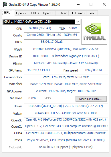 GPU Caps Viewer 1.36.0.0 + GTX 1080