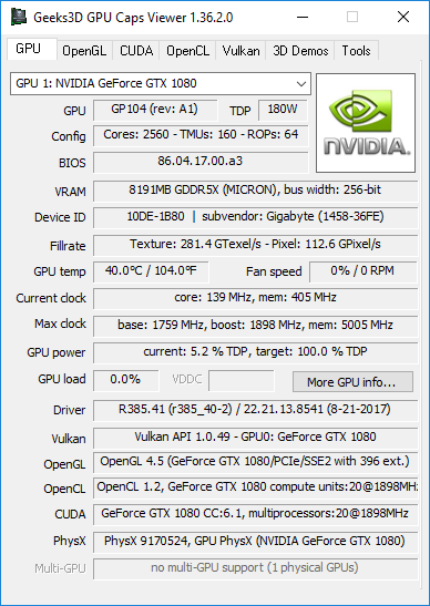 GPU Caps Viewer + R385.41 + GeForce GTX 1080