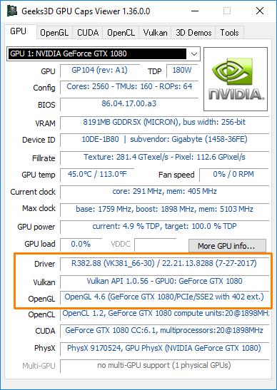 NVIDIA 382.88 driver: OpenGL 4.6 + Vulkan 1.0.56
