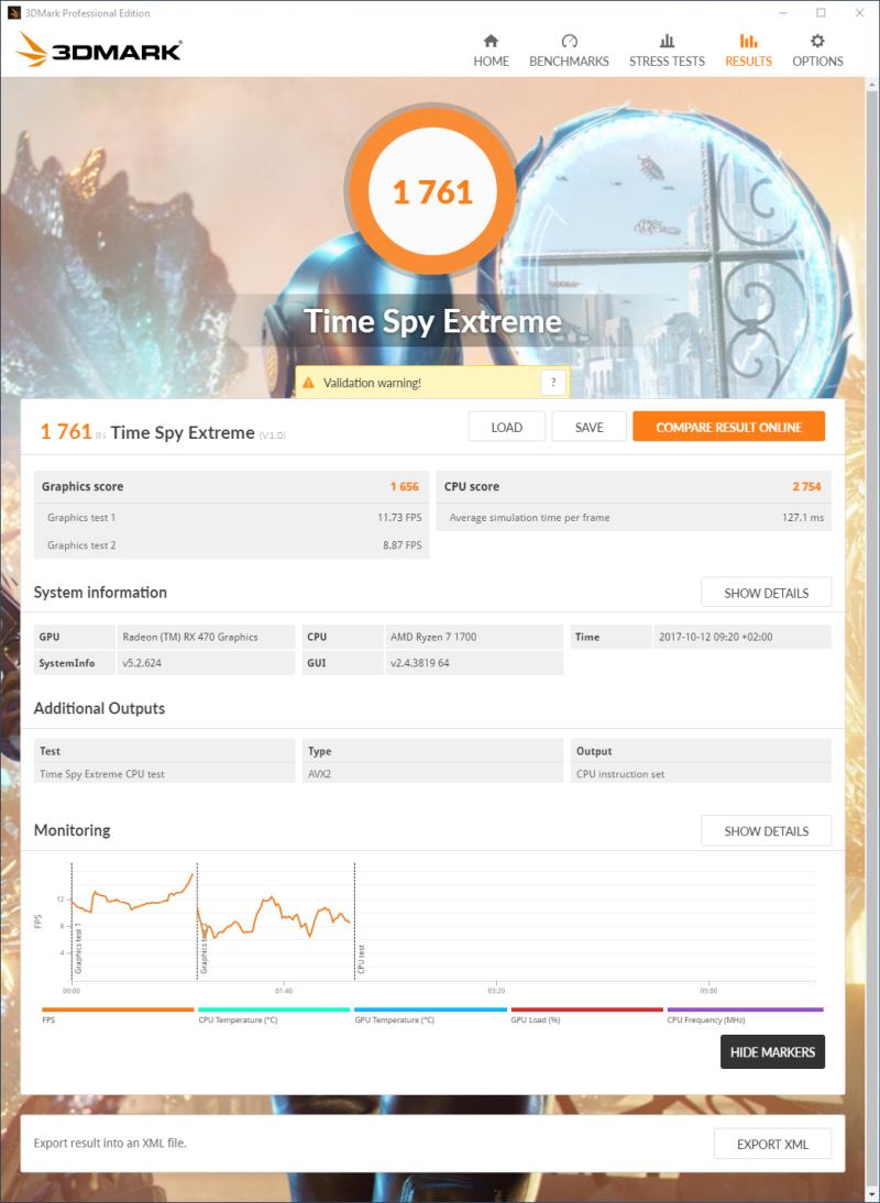 3DMark Time Spy Extreme 4K - Ryzen 7 1700 + Radeon RX 470