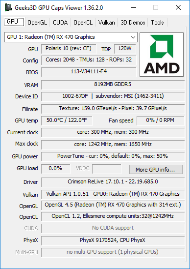 GPU Caps Viewer + AMD Crimson 17.10.1 + Radeon RX 470