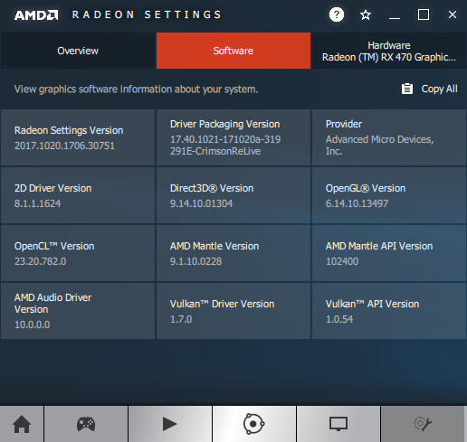 AMD Crimson 17.10.2 - Software information