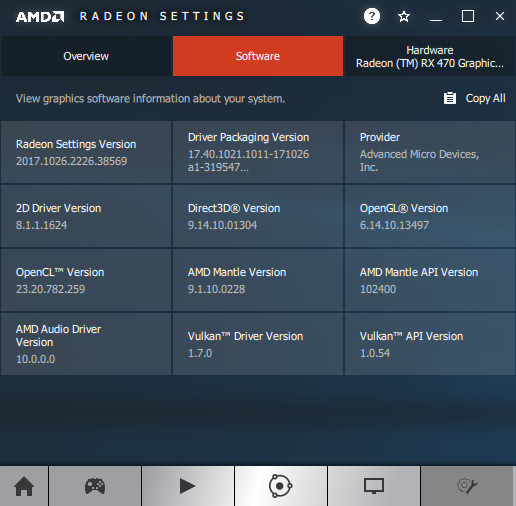 AMD Crimson 17.10.3 - Software information