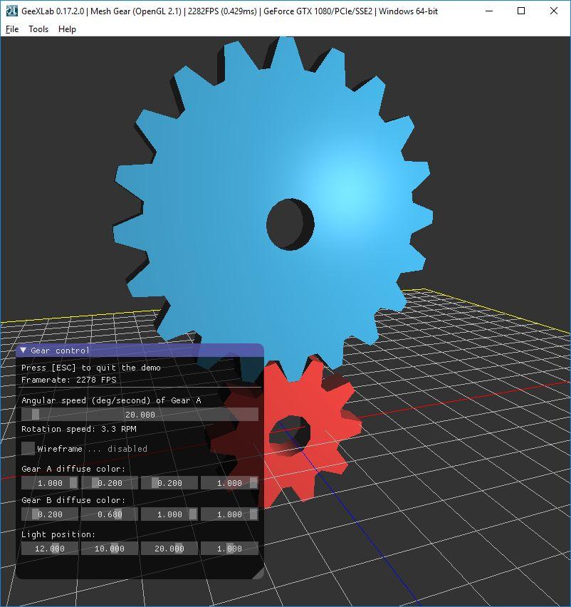 GeeXLab - Mesh Gear demo - Windows