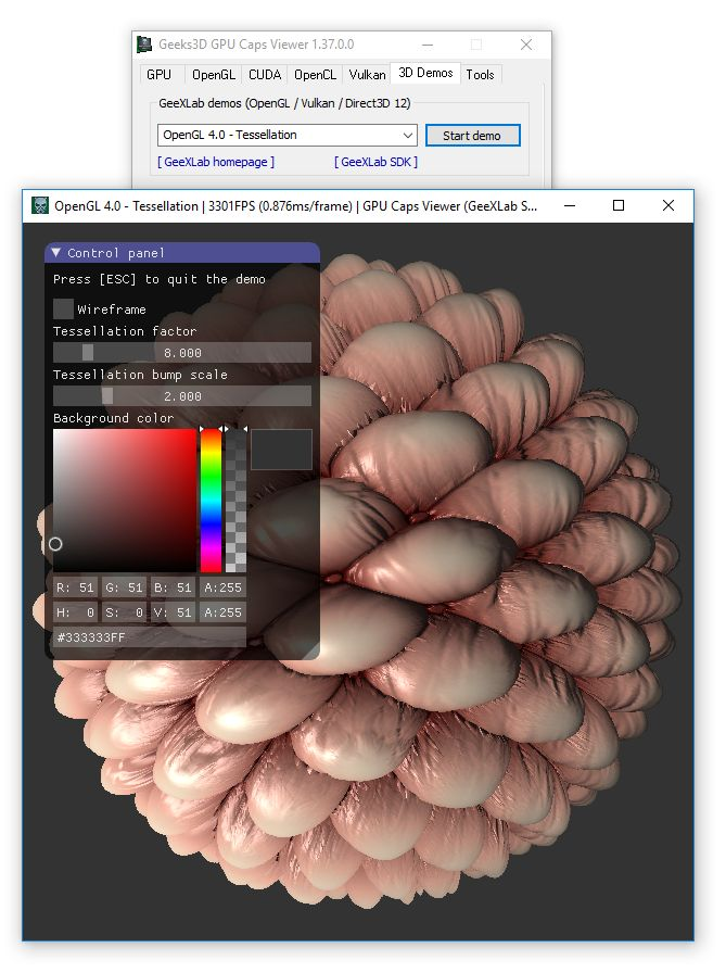 GPU Caps Viewer 1.37.0 - GeeXLab SDK OpenGL 4.0 demo