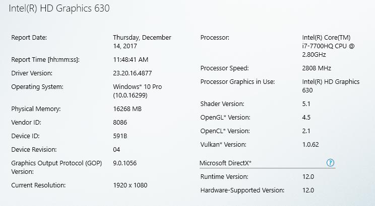 Intel graphics driver v4877 control panel information