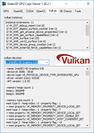 GPU Caps Viewer - Vulkan - Intel driver v4815