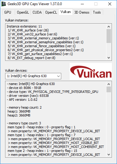 GPU Caps Viewer + Vulkan info  + Intel HD 630