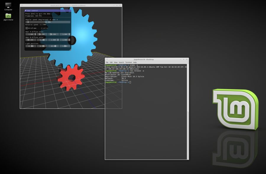 Linux Mint 18.3 - GeeXLab test