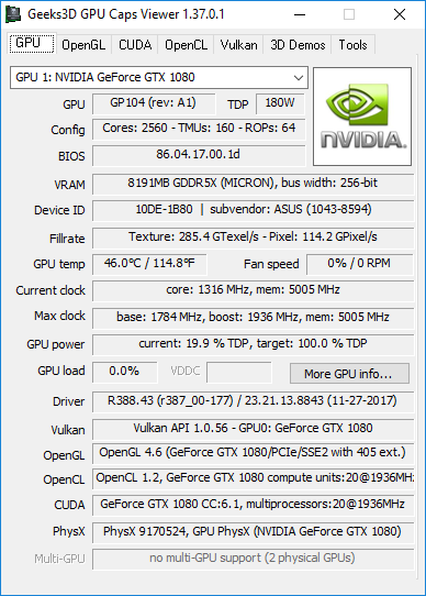 NVIDIA GeForce 388.43 driver + GPU Caps Viewer + GTX 1080