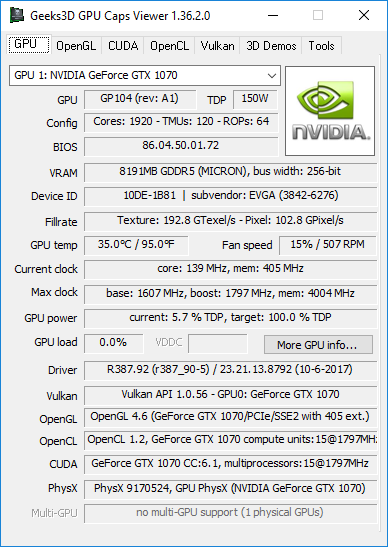GPU Caps Viewer + R387.92 + GeForce GTX 1070