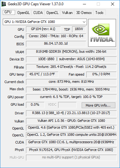 GPU Caps Viewer 1.37.0 + GeForce GTX 1080