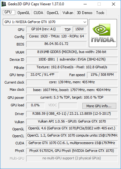 NVIDIA GeForce 388.59 + GPU Caps Viewer + GTX 1070