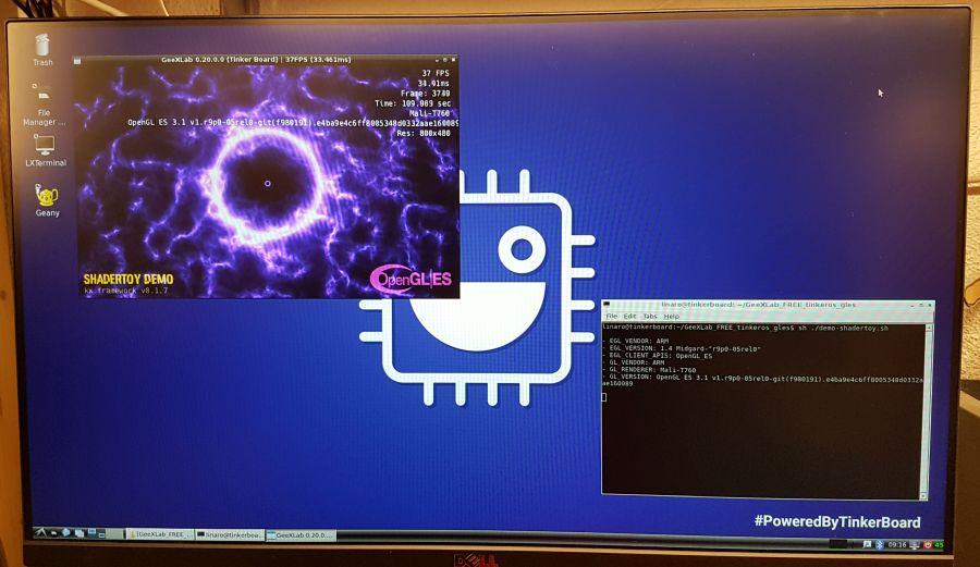 GeeXLab OpenGL ES demo running on ASUS Tinker Board