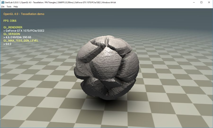 OpenGL 4.0 tessellation demo on Windows with a GTX 1080